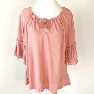 Old Navy Top large blush crochet bell sleeve